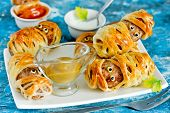 Halloween Mummies - Meatballs Wrapped In Dough With Funny Eyes , Funny Idea For Halloween Party Snac poster