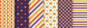 Halloween Seamless Pattern. Haloween Textile Print. Vector. Geometric Background With Pumpkin Face,  poster