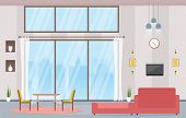 Luxury Deluxe Living Room Penthouse Apartment Interior Furniture Vector Illustration poster