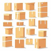 Set Of Isometric Cardboard Boxes. Delivery Box Package. Different Cardboard Boxes Isolated On White. poster