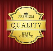 Mark Or Medal With Ribbon, High Quality, Best Choice. Guarantee Golden Sticker With Crown Symbols, O poster