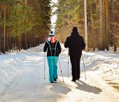 Nordic Walking. Winter Sport. Man And Woman On A Sunny Day In A Winter Park. Active People In Nature poster