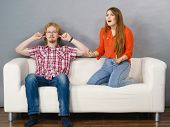 Man And Woman Having Conflict. Female Ignoring What Her Boyfriend Is Saying. Friendship, Couple Brea poster