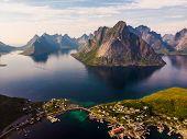 Scenic Fjord Landscape With Reine Village, Coast Nature With Sharp High Mountain Peaks, Lofoten Isla poster