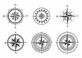 Collection Of Logos Of The Compass. Stylized Sea Compasses With A Wind Rose. Measuring Device. Black poster