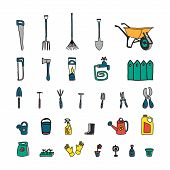 Gardening Tools, Illustration Vector.gardening Work Tools Hand Drawn Set. Nice Equipment For Working poster
