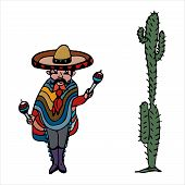 Mexican, Cartoon, National, Costume, Illustration, Person, Vector, Nationality, Stylized Mexican In  poster
