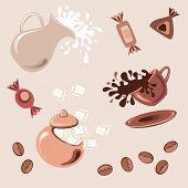 Постер, плакат: Завтрак с кубиками свежие сахар молочный кофе и шоколадные конфеты