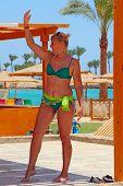 Woman Dancing In Resort. Beach Clothes. Girl In Dance. Female Dancing In Swimsuit. Woman Enjoying Da poster