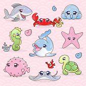 Set Funny Laughable Kawaii Marine Inhabitants. Sticker Pak Underwater World. Collection Marine Anima poster