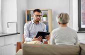 geriatric psychology, mental therapy and old age concept - psychologist with tablet computer and sen poster