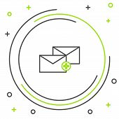 Black And Green Line Envelope Icon Isolated On White Background. Received Message Concept. New, Emai poster