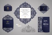 Wedding Invitation Or Greeting Card With Gold Floral Ornament. Wedding Invitation Envelope For Laser poster