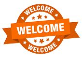 Welcome Ribbon. Welcome Round Orange Sign. Welcome poster
