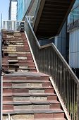 Damaged Staircase. Old Staircase In The Metropolis. Broken Stairs On A Flight Of Stairs poster