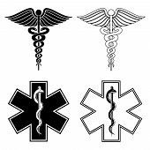 picture of medical  - Illustration of a Caduceus and Star of Life medical symbols in black and white vector - JPG