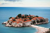Beautiful, Brightly Colored Summer Landscape Of A Small Croatian Seaside Town. The City Is Located O poster