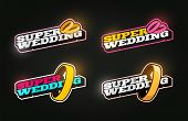 Retro Style Sport Logo Set. Modern Professional Typography Emblem With Super Wedding Text And Ring L poster