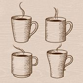 Vintage Set Of Vector Illustration Of Coffee And Cups. Cup Of Coffee, Latte, Cappuccino And Tea Draw poster