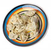 Dumplings On A Multicolored Plate Isolated On White Background .boiled Dumplings.meat Dumplings Top  poster