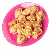 Dumplings On A Pink Plate Isolated On White Background. Dumplings In Tomato Sauce. Dumplings Top Sid poster