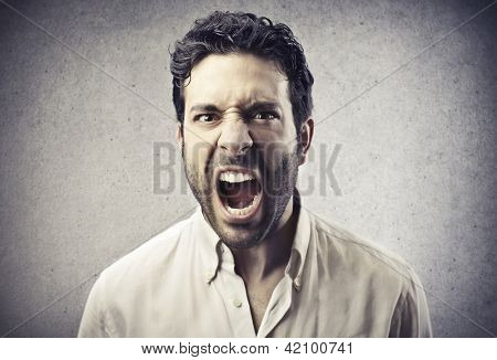 portrait of man screaming