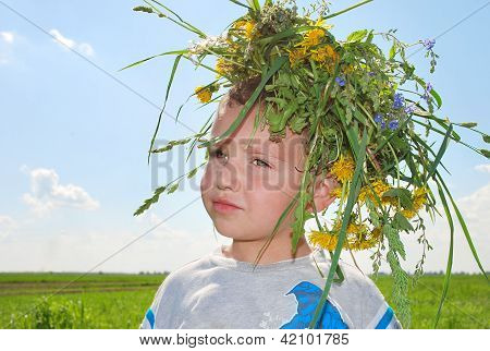 Boy with wreath