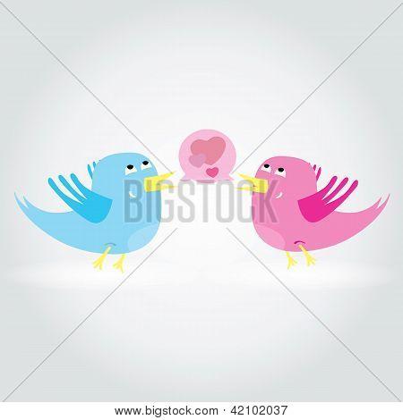 Birds love each other. A vector illustration