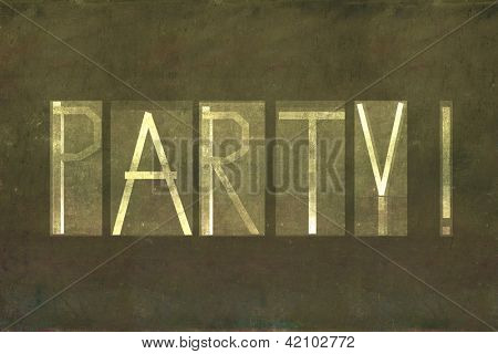 """Earthy background image and design element depicting the word """"Party"""""""