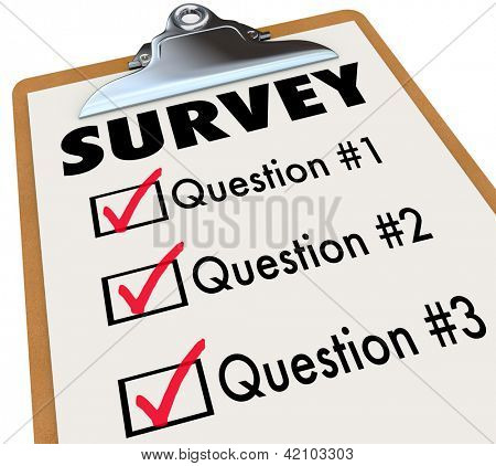A checklist on a wooden clipboard with the word Survey and a list of questions to gather customer or audience feedback, reviews and reactions to important matters or products