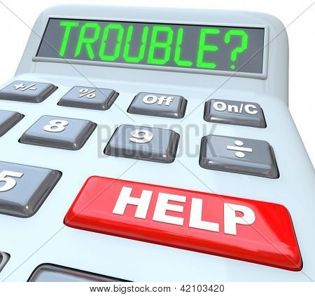 Having financial trouble?  Press the help button on this calculator for finance budget aid or assistance with your money problem.