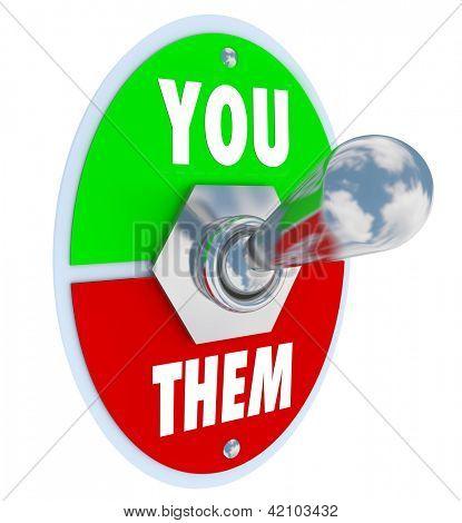 Ein Metall Kippschalter mit Platte lesen Sie Vs, mit dem Hebel geschaltet bis zu Ihrer Seite zu sym