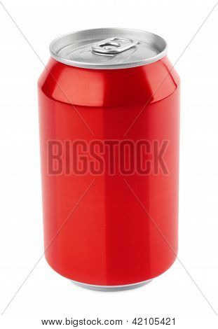 Red Aluminum Can On White