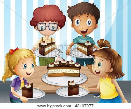 Illustration of a smiling kids and cake in a room