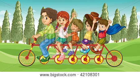 Illustration of an everybody's bike with children
