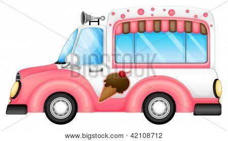 Ilustración de un coche de helado sobre un fondo blanco