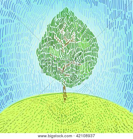 Artístico árbol verde en una ilustración del vector de colina