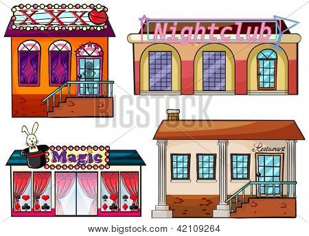 Illustration of an entertainment venue on a white background