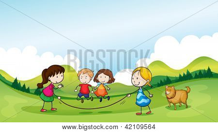 Illustration of children playing jumping rope
