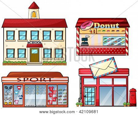 Illustration of a school, donut store, sport shop and a post office on a white background