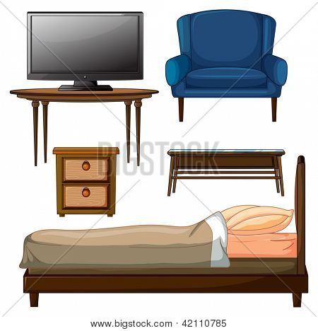 Illustration of wooden furnitures on a white background