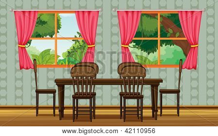 Illustration of a colorful dining room