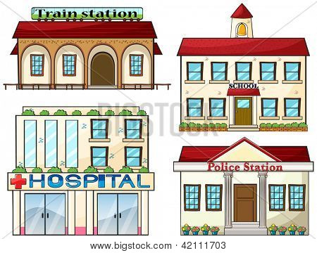 Illustration of a train station, a school, a police station and a hospital on a white background