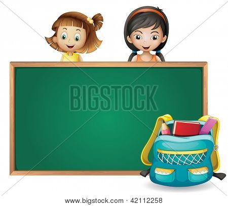 Illustration of smiling kids and a green board on a white background