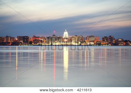 Skyline Of Madison Wisconsin At Dusk