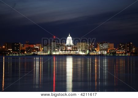 Skyline Of Madison Wisconsin At Night