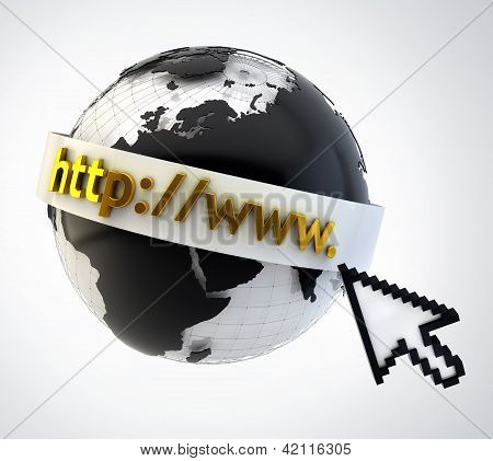 Internet Concept Illustration - Globe Coverered By Domain Bar Label With Pointing Mouse Arrow Icon