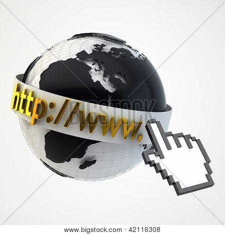 Internet Concept Illustration - Globe Coverered By Domain Bar Label With Pointing Hand Arrow Icon