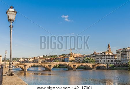 The Ponte Alla Carraia Bridge In Florence, Italy.