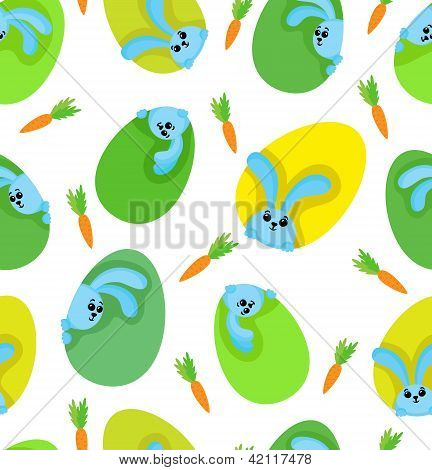 Green-yellow Eggs With Funny Rabbits And Carrots